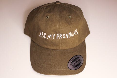 Ask My Pronouns Dad Hat