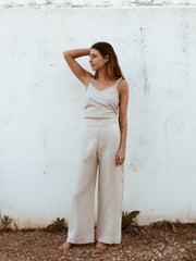 High-Waisted Linen Pants