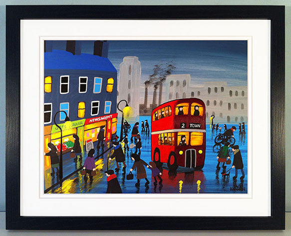 A RAINY DAY IN TOWN - framed print