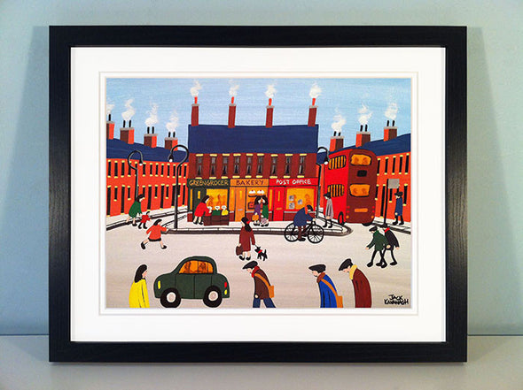 BUSY AT THE SHOPS - framed print