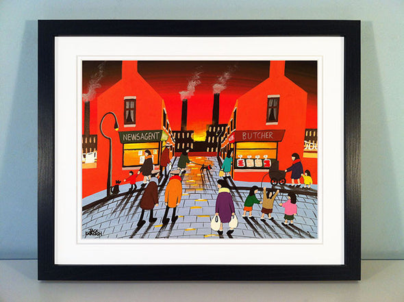 SKIPPING ON THE COBBLES - framed print