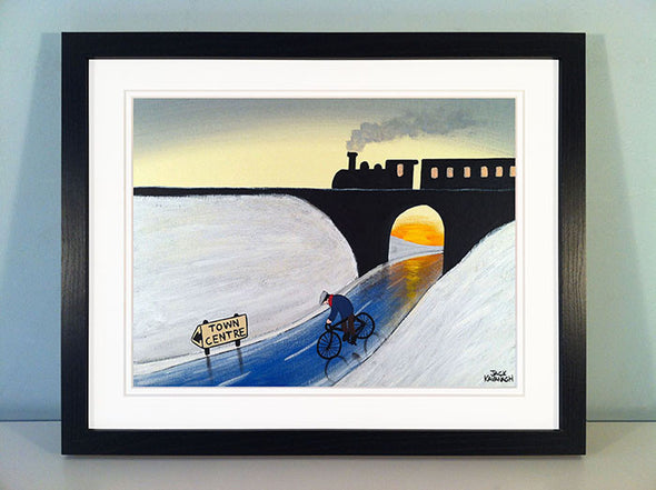 HEADING INTO TOWN - framed print