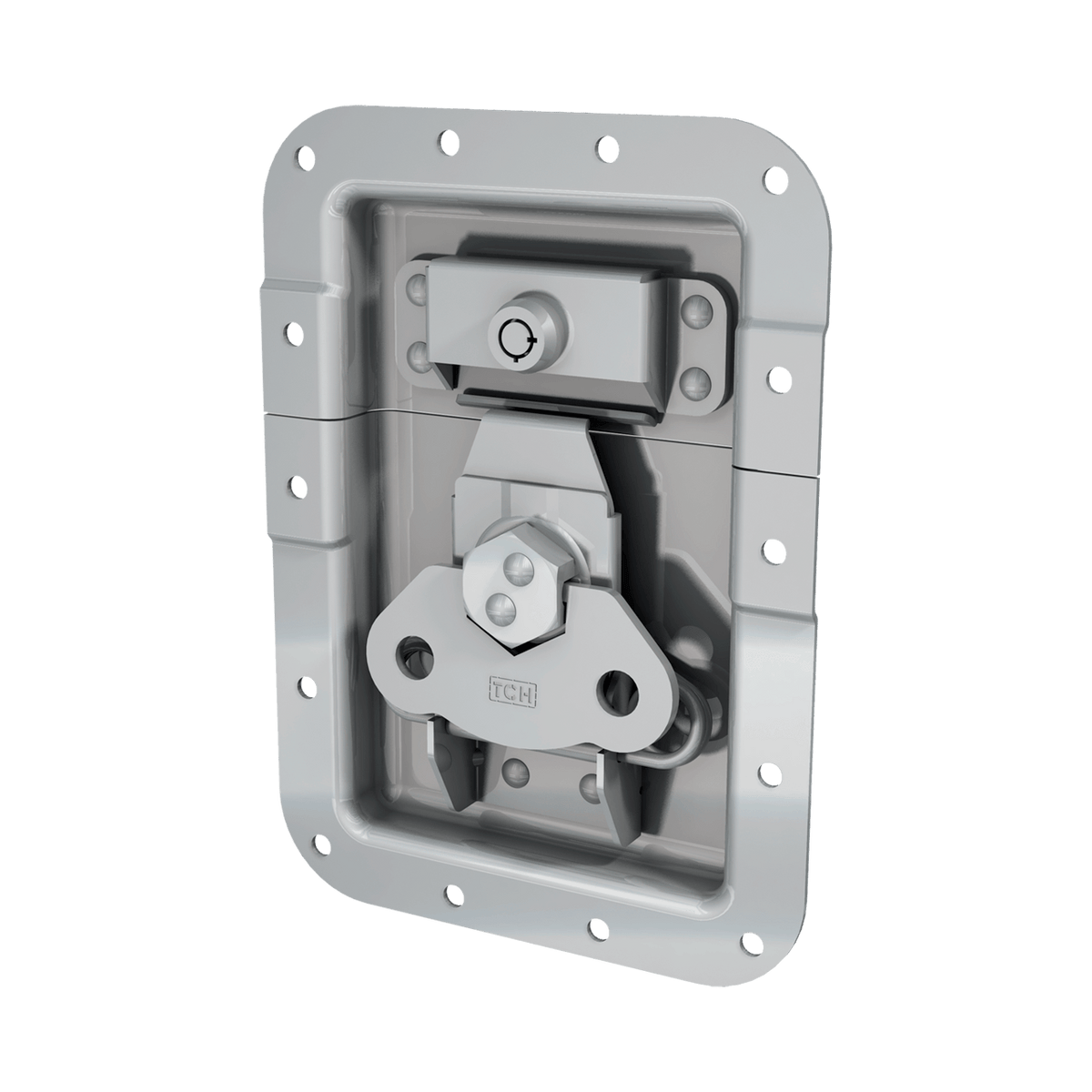 "Render of Large Recessed Key lockable Low Mount Twist Catch with 1"" Offset"