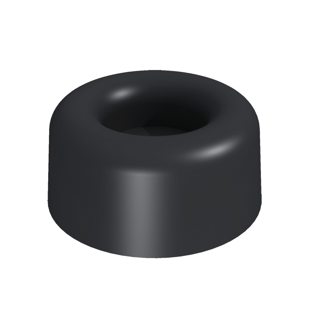 Round Rubber Foot, 3/4 view