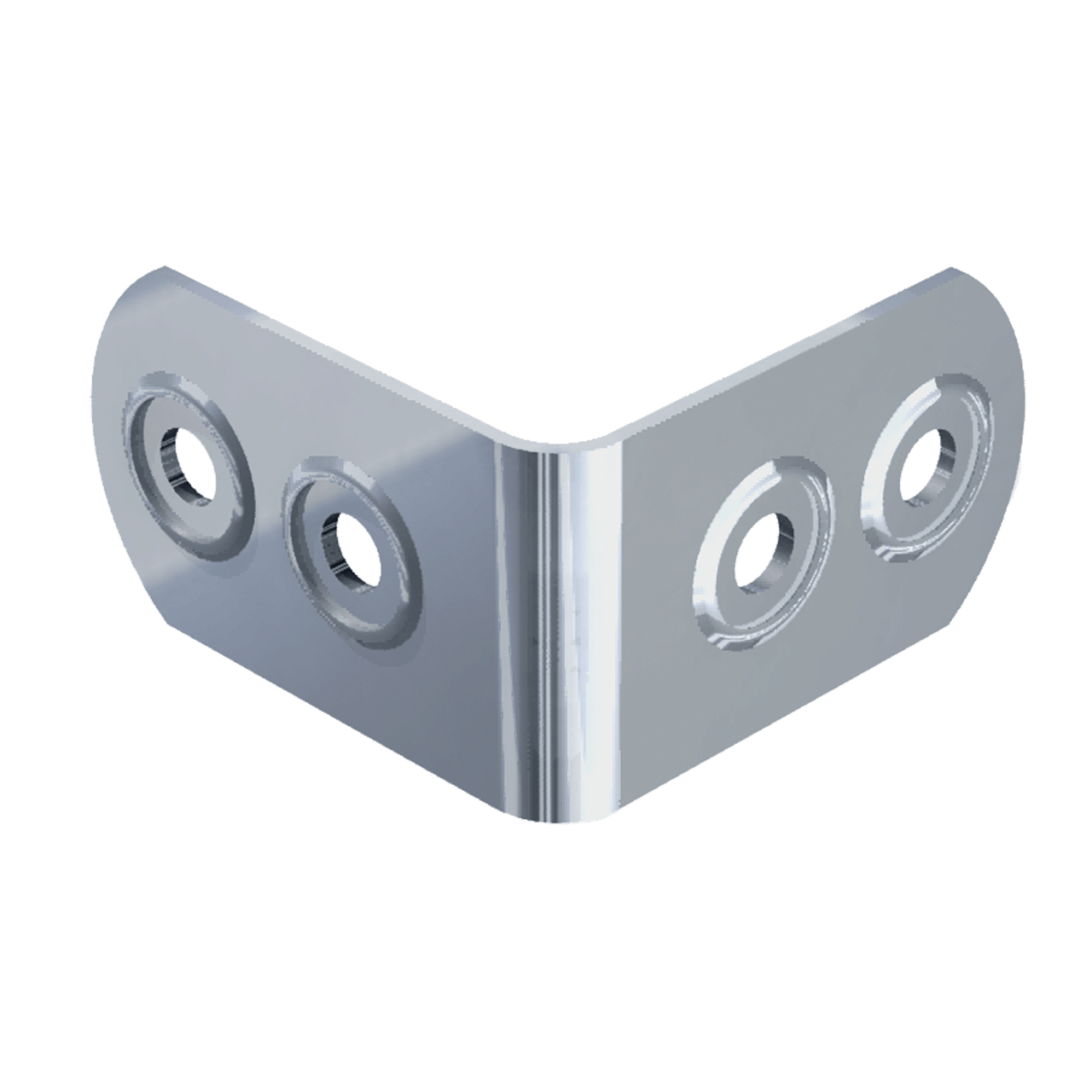 Small Four-Hole Clamp With Rivet Protectors, 3/4 view