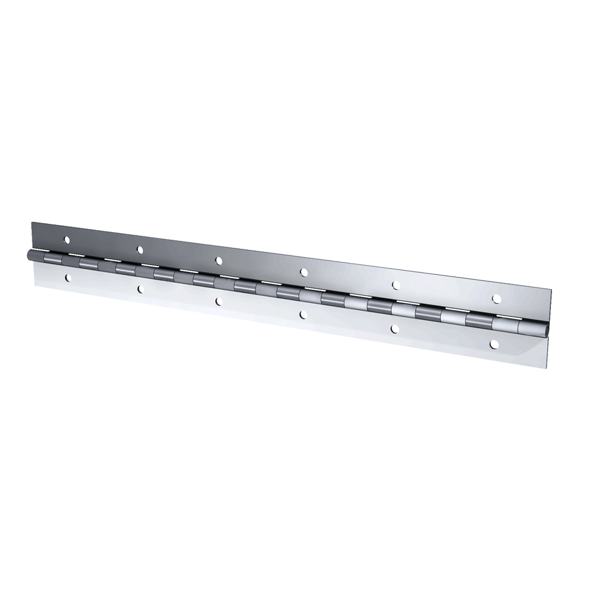 "Aluminum Continuous Hinge - 0.06"" x 1.50"" x 72"" with Mounting Holes"