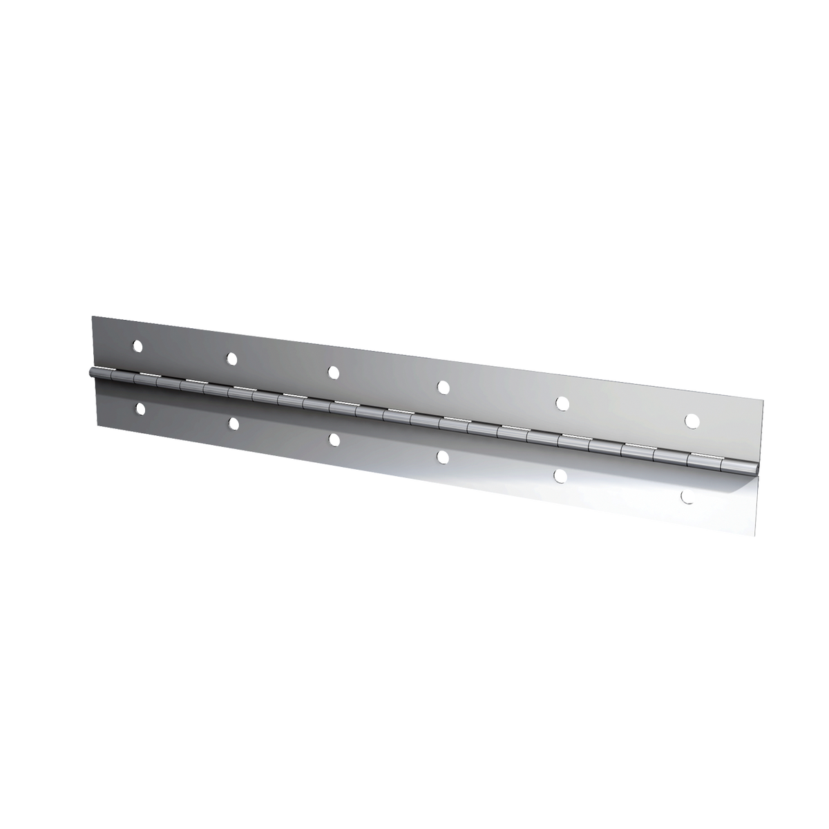 "Steel Continuous Hinge - 0.04"" x 2.0"" x 72"" with Nickel Plate & Mounting Holes"