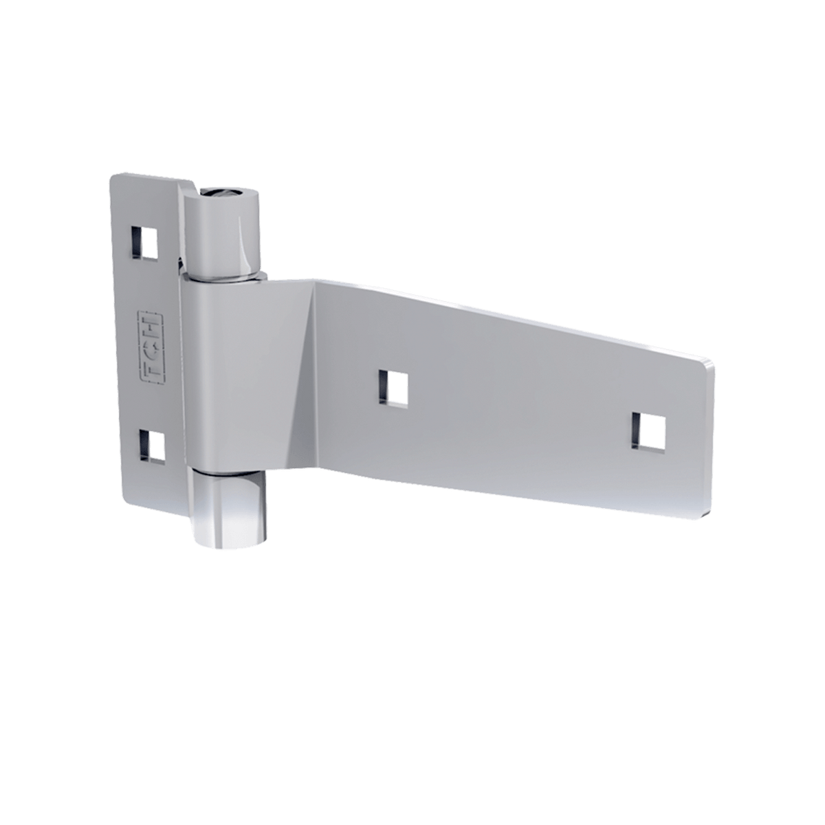 "3"" Polished Stainless Steel Strap Hinge, 3/4 view"