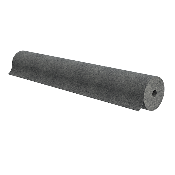 "Roll of 48"" wide grey non-woven carpet"