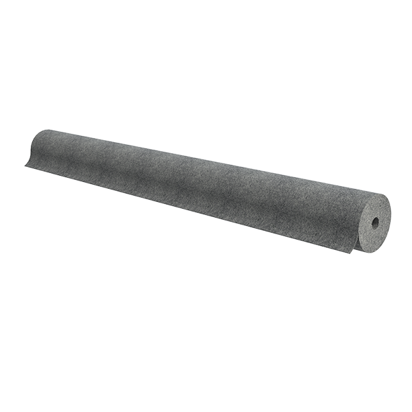 "Roll of 72"" wide gray non-woven carpet"