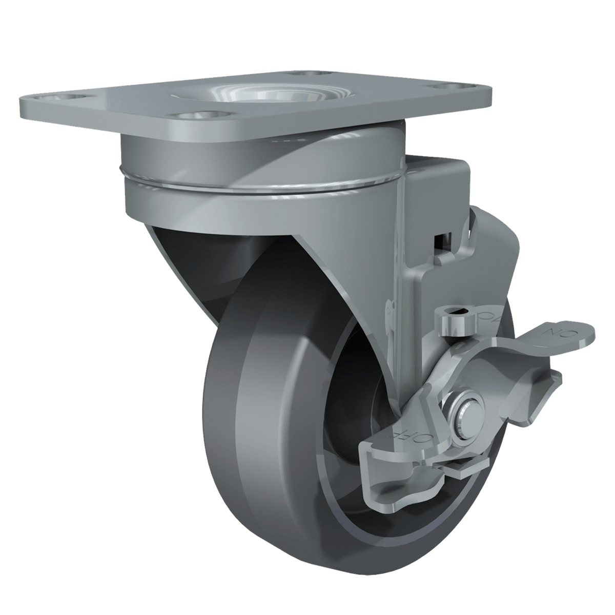 "3-1/2"" Swivel Caster with Brake, Gray Tire and Aluminum Core"