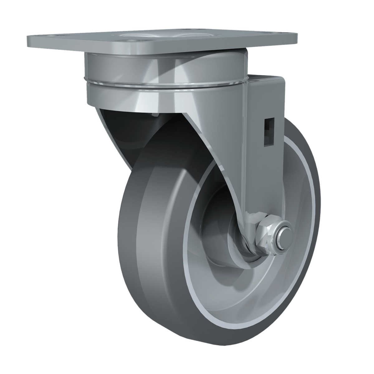 "4"" Swivel Caster with Gray Tire and Aluminum Core"