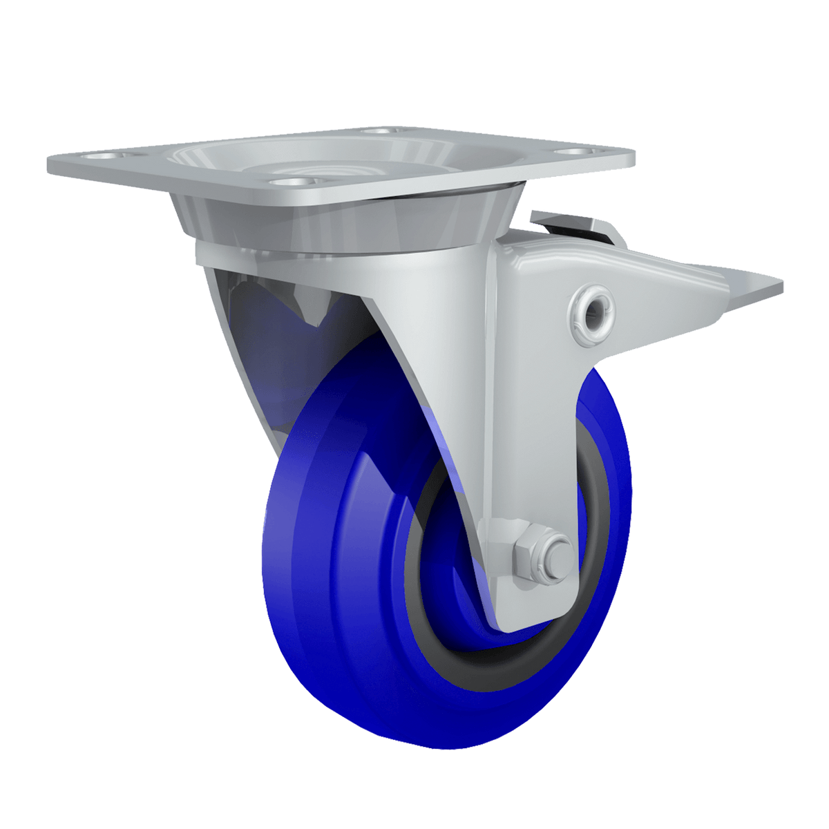 "4"" TCH Blue Swivel Caster with Brake"