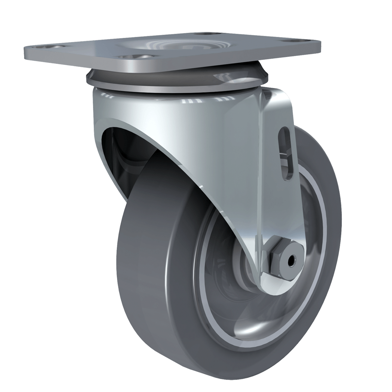 "Render of 4"" Performa Gray Tire Swivel Caster, 3/4 perspective"