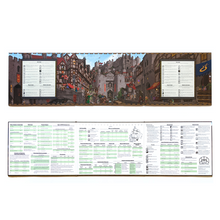 Load image into Gallery viewer, Image shows full front and back of the GM screen. The front displays a busy scene of a city, full of medieval style wooden-beamed houses in front of the stark stone walls of an impressive castle. All sorts of adventurers and citizens are moving through the scene, including merchants, bards, nomads, monks, thieves, knights, and even a dragon. The back of the screen is filled with advice and tables used for running city-based encounters.