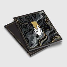 Load image into Gallery viewer, Image shows two copies of Vice & Virtue stacked on top of each other. The cover shoes a white hand raiding a golden card, and the hand it surrounded by curling shadowy mists. Amongst the mists are single strands of gold.