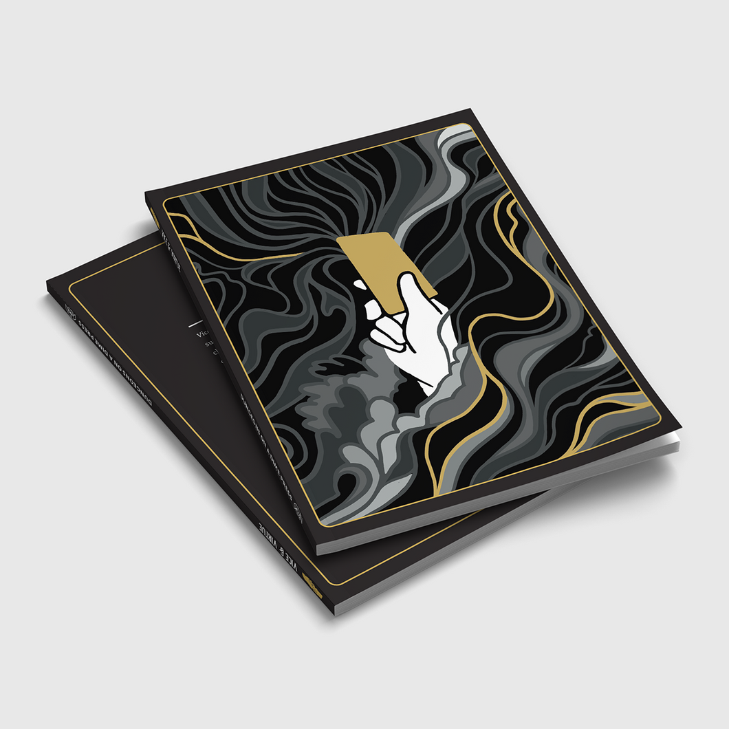 Image shows two copies of Vice & Virtue stacked on top of each other. The cover shoes a white hand raiding a golden card, and the hand it surrounded by curling shadowy mists. Amongst the mists are single strands of gold.