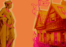 Load image into Gallery viewer, Image shows a collaged statue of Athena, staring across at a photo of a Tudor-style house. Sketches atop Athena give her jewelery, armour and a dagger, while sketches on the building set it on fire, with smoke escaping the upper windows, as well as a flag flying from its tallest point and a monster swiping from its lowest window.