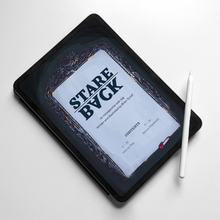 Load image into Gallery viewer, Image shows: an iPad Pro tablet with an Apple Pencil stylus balancing on the corner. The screen shows the front cover of Stare Back. An intricate mirror gilded frame is lit by the glowing mirror it holds.