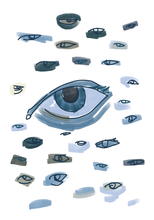 Load image into Gallery viewer, Image shows a horde of sketchy eyes staring at the viewer.