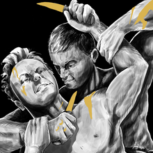 Load image into Gallery viewer, Image shows two figures fighting bare-chested. One has the other in a head lock, with a knife pressed to their throat. Gold gilds their blades, and they both have wounds dripping golden blood.
