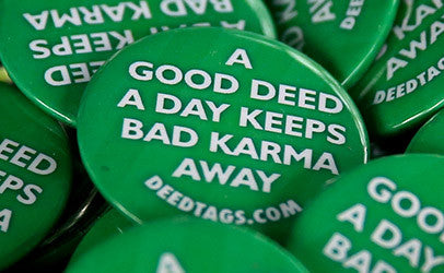 "5 x ""...Keeps Bad Karma Away"" button pins"