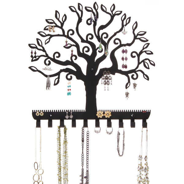 Hanging Jewelry Organizer Earring Holder Wall Necklace Rack Tree of Life Black
