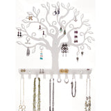 Hanging Jewelry Organizer Earring Holder Wall Necklace Rack Tree of Life White