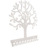 Jewelry Organizer Wall Mount Earring Holder Necklace Rack Tree of Life White