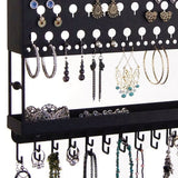 Jewelry Holder Earring Organizer Wall Mount Necklace Storage Rack Black