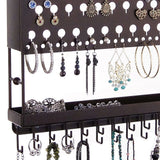 Jewelry Holder Earring Organizer Wall Mount Necklace Storage Rack Bronze