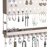 Jewelry Holder Earring Organizer Wall Mount Necklace Storage Rack Silver