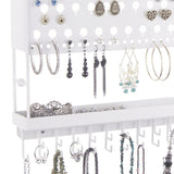 Jewelry Holder Earring Organizer Wall Mount Necklace Storage Rack White