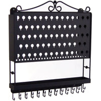 Wall Mount Jewelry Organizer Hanging Earring Holder and Necklace Rack Black Angelynn's