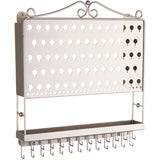 Wall Mount Jewelry Organizer Hanging Earring Holder and Necklace Rack Silver Angelynn's
