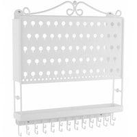 Wall Mount Jewelry Organizer Hanging Earring Holder and Necklace Rack White Angelynn's