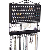 Hanging Jewelry Organizer Wall Mount Earring Holder Necklace Rack Black