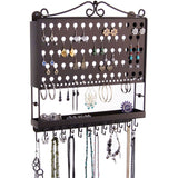 Hanging Jewelry Organizer Wall Mount Earring Holder Necklace Rack Bronze