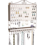 Hanging Jewelry Organizer Wall Mount Earring Holder Necklace Rack Silver