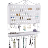 Hanging Jewelry Organizer Wall Mount Earring Holder Necklace Rack White