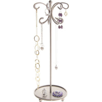 Hanging Necklace Holder Organizer Display Stand Storage Rack Ava Silver
