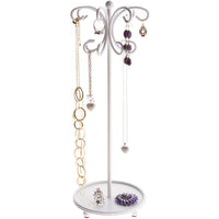 Hanging Necklace Holder Organizer Display Stand Storage Rack Ava White