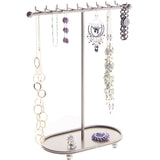 Hanging Necklace Holder Organizer Display Stand Storage Rack Gianna Silver