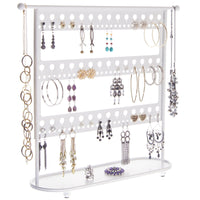 Long Earring Holder Organizer Stand Storage Rack Laela White
