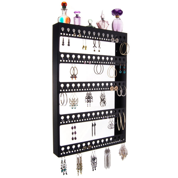 Large Long Hoop Earring Holder Wall Mount Jewelry Organizer Nichole Black