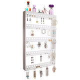 Large Long Hoop Earring Holder Wall Mount Jewelry Organizer Nichole White