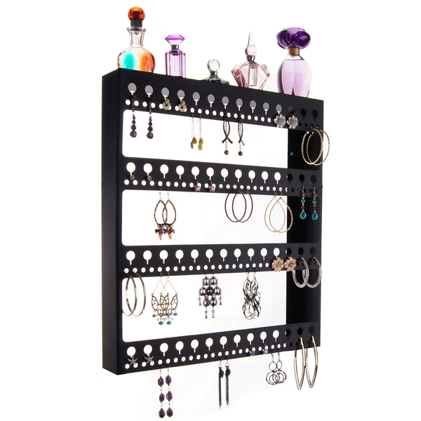 Large Long Hoop Earring Holder Wall Mount Jewelry Organizer Rose Black