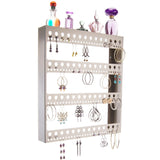 Large Long Hoop Earring Holder Wall Mount Jewelry Organizer Rose Silver