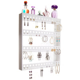 Large Long Hoop Earring Holder Wall Mount Jewelry Organizer Rose White