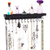 Necklace Holder Jewelry Organizer Wall Mount Closet Storage Rack Schelon Black